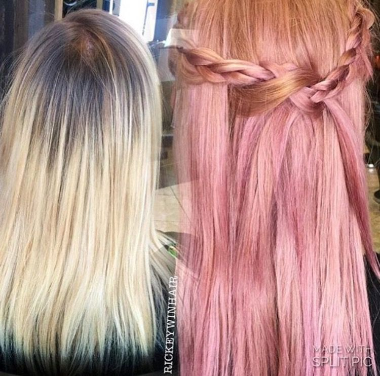Pink Hair With Ginger Roots Long Hair Styles Hair Color