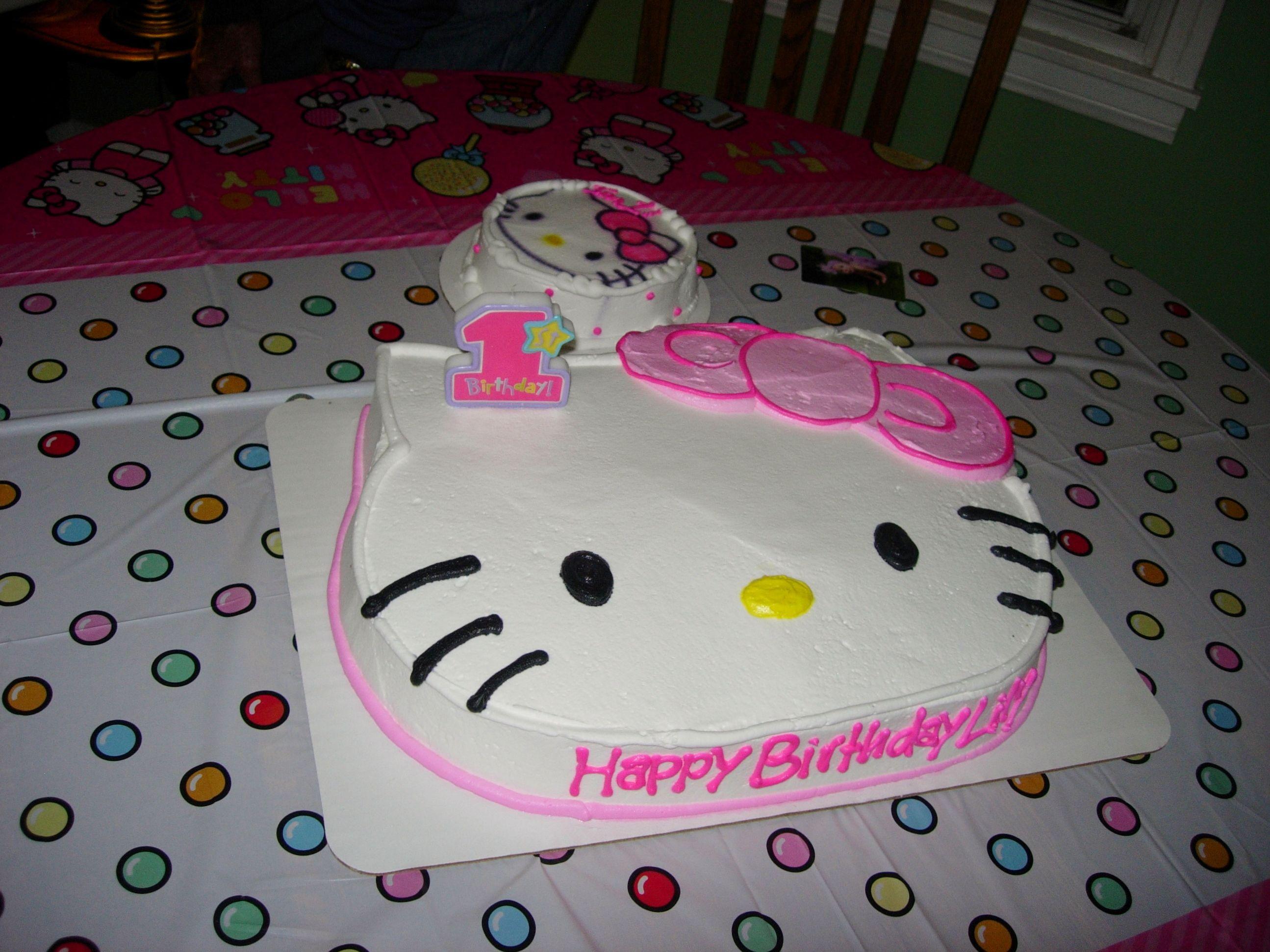 First Birthday Hello Kitty Cakes 1st Birthday Cakes Hello Kitty Cake Pink Desserts