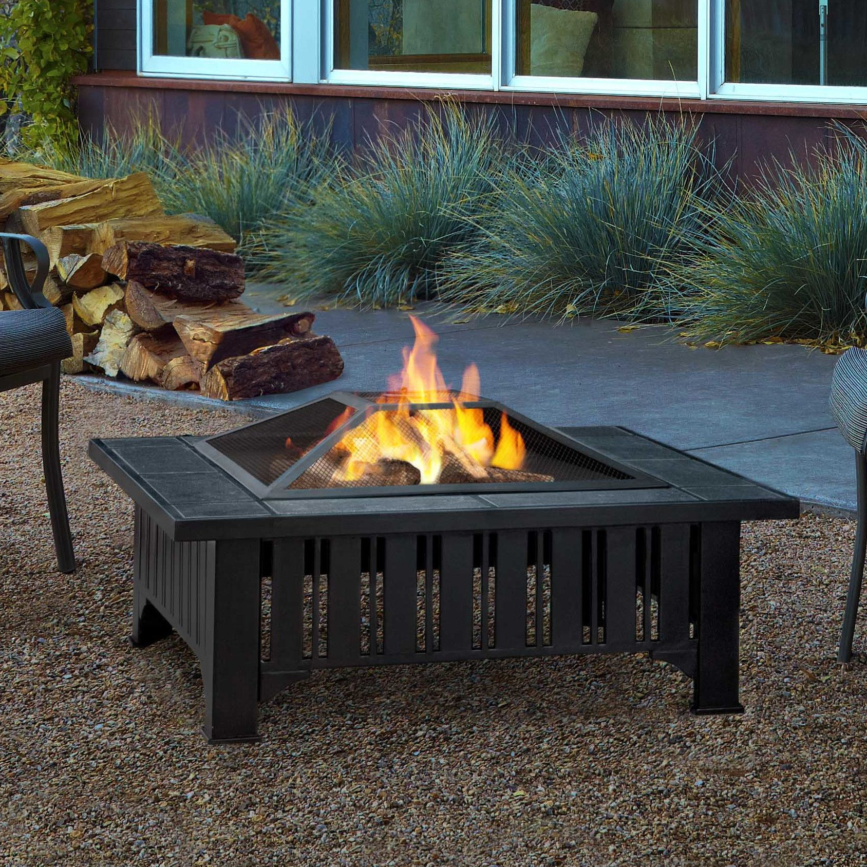 Real Flame Lafayette Wood Burning Fire Pit Reviews Wayfair  # Muebles Lafayet