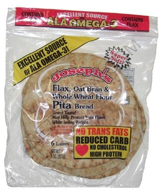 Joseph S Middle East Bakery Reduced Carb Flax Oat Bran And Whole Wheat Pita Bread At Netrition Com Low Carb Pita Bread Whole Wheat Pita Whole Wheat Pita Bread