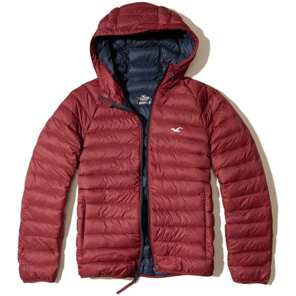 Hollister Lightweight Down Puffer Jacket (£48) ❤ liked on Polyvore  featuring men's fashion