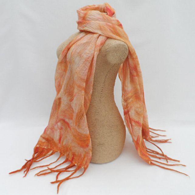 Nuno felted scarf, wool on silk, orange £20.00