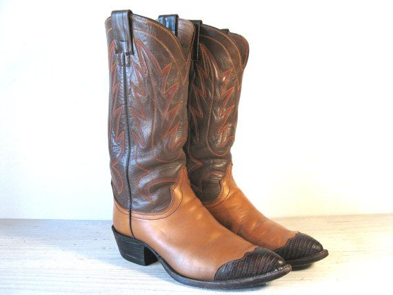 d96ddb75699 Vintage Cowboy Boots, 70's HYER Two Tone Brown & Tan Leather with ...
