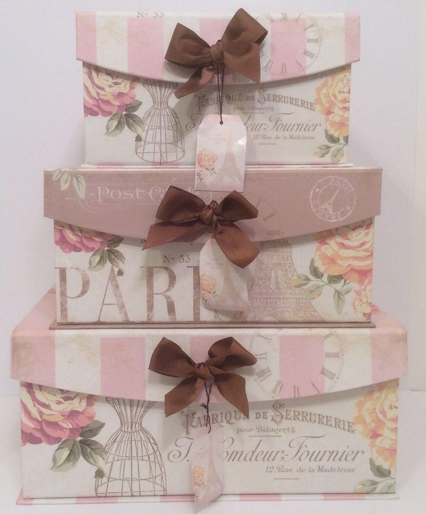 Decorative Boxes Storage Enchante Parisian Pink Couture Eiffel Tower Dress Form Keepsake