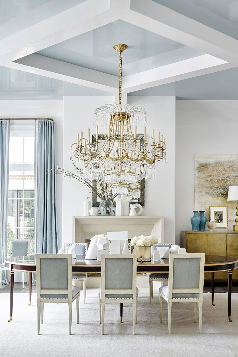 Suzanne Kasler Loves A White Wall Color Dining Room Blue