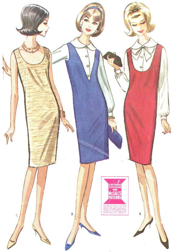 1960s Dress Pattern McCalls 7354 Mod Sleeveless Shift or Pinafore Dress and Blouse Womens Vintage Sewing Pattern Bust 34 on Etsy, £6.79