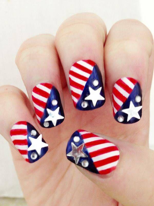 Memorial Day Nail Designs Nail Crazy Pinterest Usa Nails Hair