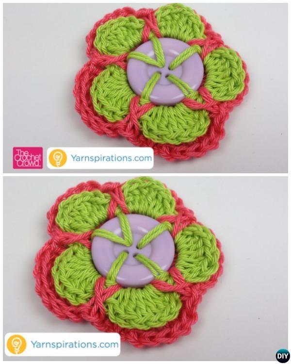 Layered Crochet Button #Flower Free Patterns Beginner Guide-Video ...