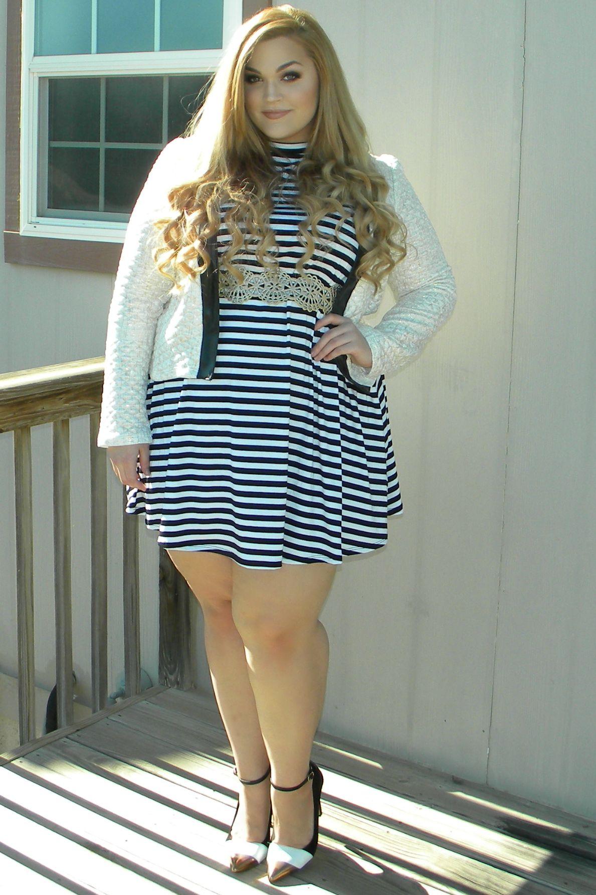Loey Lane Wearing Ftf S Mockneck Stripe Jersey Dress