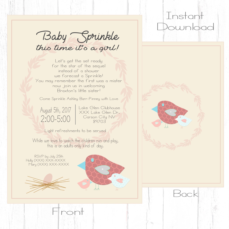 Baby Sprinkle Invitation Baby Shower Invitation Girly Baby Shower ...
