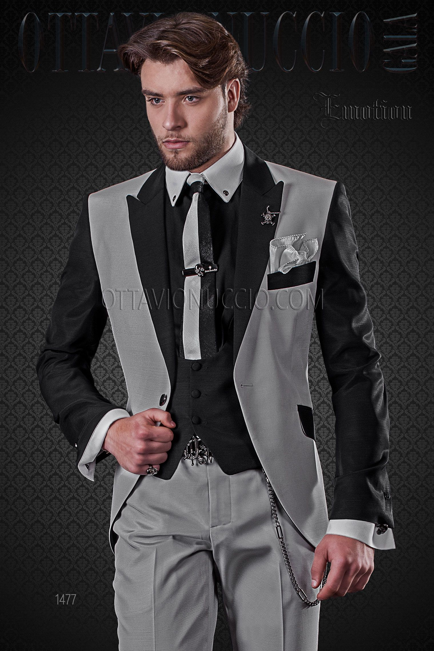 Pearl grey and black patchwork wedding suit for groom #groom ...
