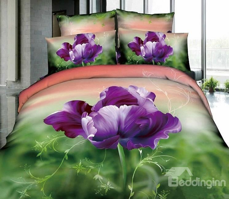 3d100 Cotton Alone Blooming 4 Piece Bedding Sets Elegant