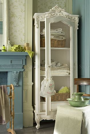 cabinet and blue mantle