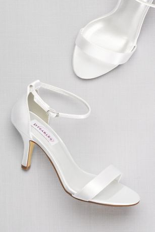 Dyeable Single Strap Sandal David S Bridal Wedding Shoes Heels Ivory Bridal Shoes Ivory Wedding Shoes