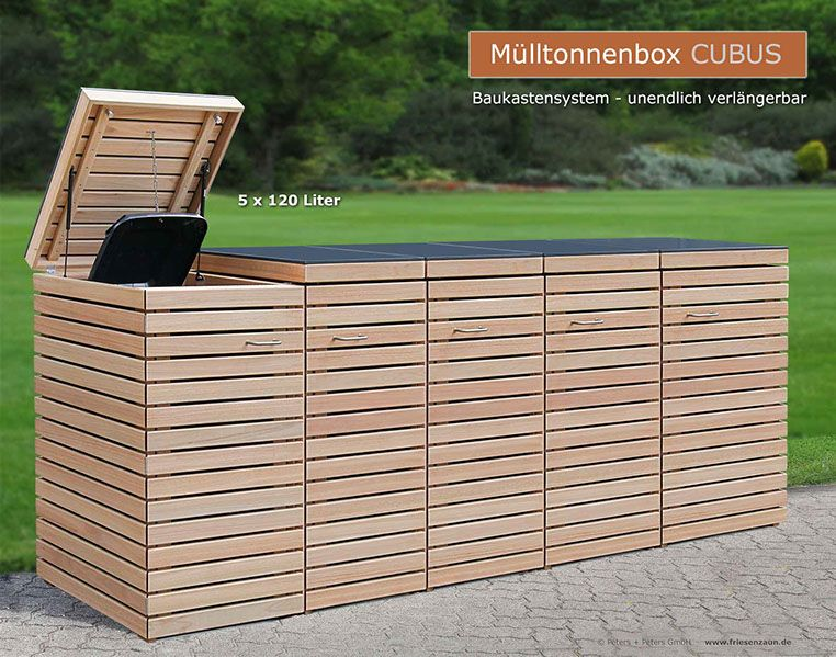 hochwertige verarbeitung und beschl ge aus edelstahl m lltonnenbox classic aus fsc hartholz. Black Bedroom Furniture Sets. Home Design Ideas