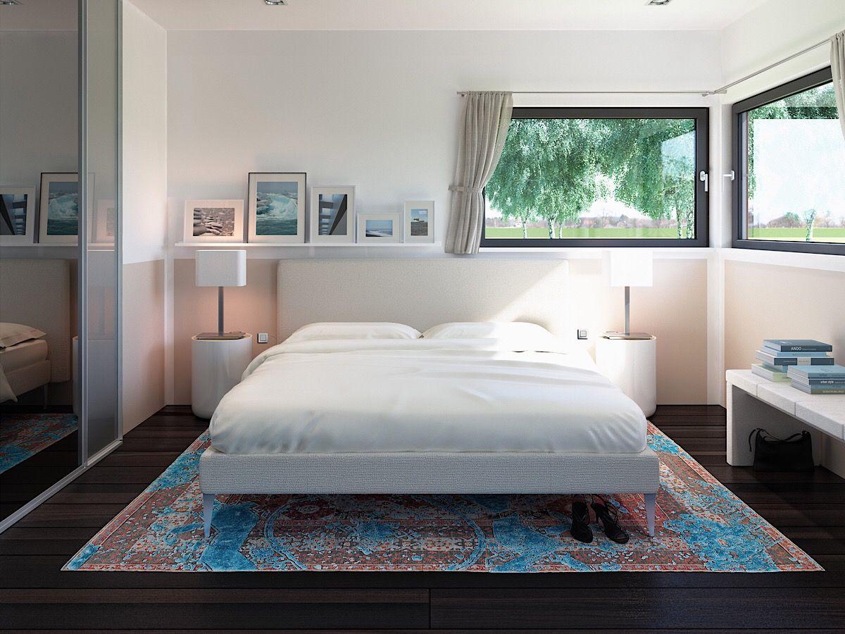 Schlafzimmer modern einrichten mit Bett unter Fenster