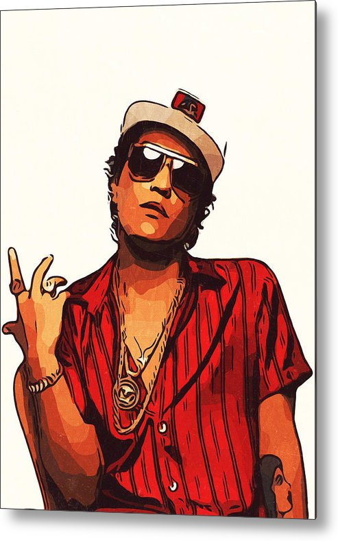 Bruno Mars Metal Print Featuring The Painting Bruno Mars Artwork By Taoteching Art Mars Poster Bruno Mars Mars Wallpaper