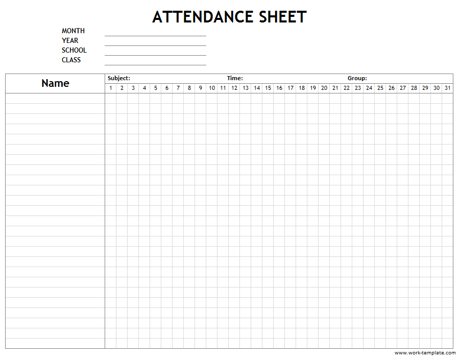 Printable Attendance Sheet Template For Employees Students Workers Attendance Sheet Template Attendance Sheet Student Attendance Sheet
