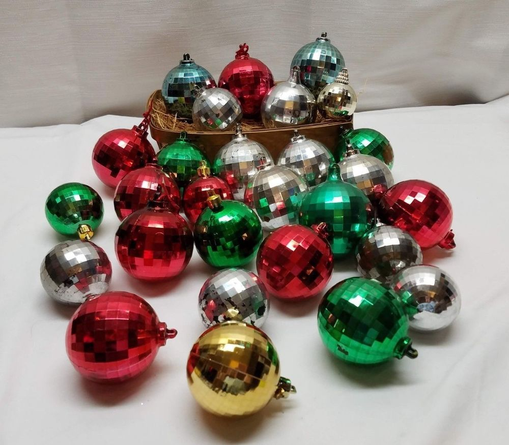 Vintage Unbreakable Christmas Tree Ornaments Disco Ball Bauble Plastic Retro Lot Christmas Tree Ornaments Disco Ball Ornaments