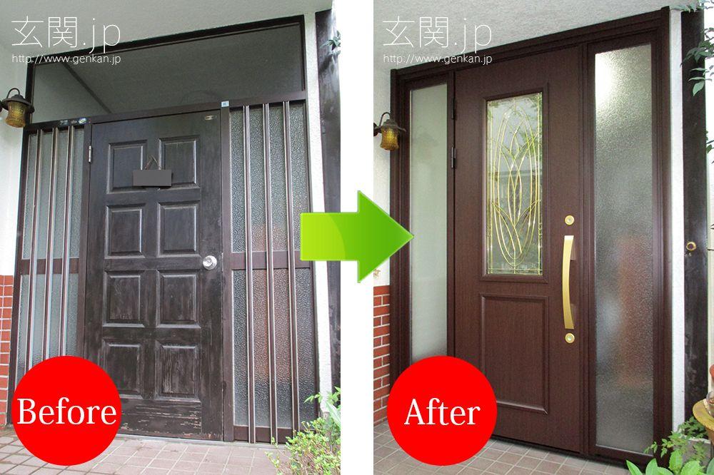 ステンドグラスの最高級玄関ドアに交換された 神奈川県k様邸の施工例 ドア 玄関ドア 玄関