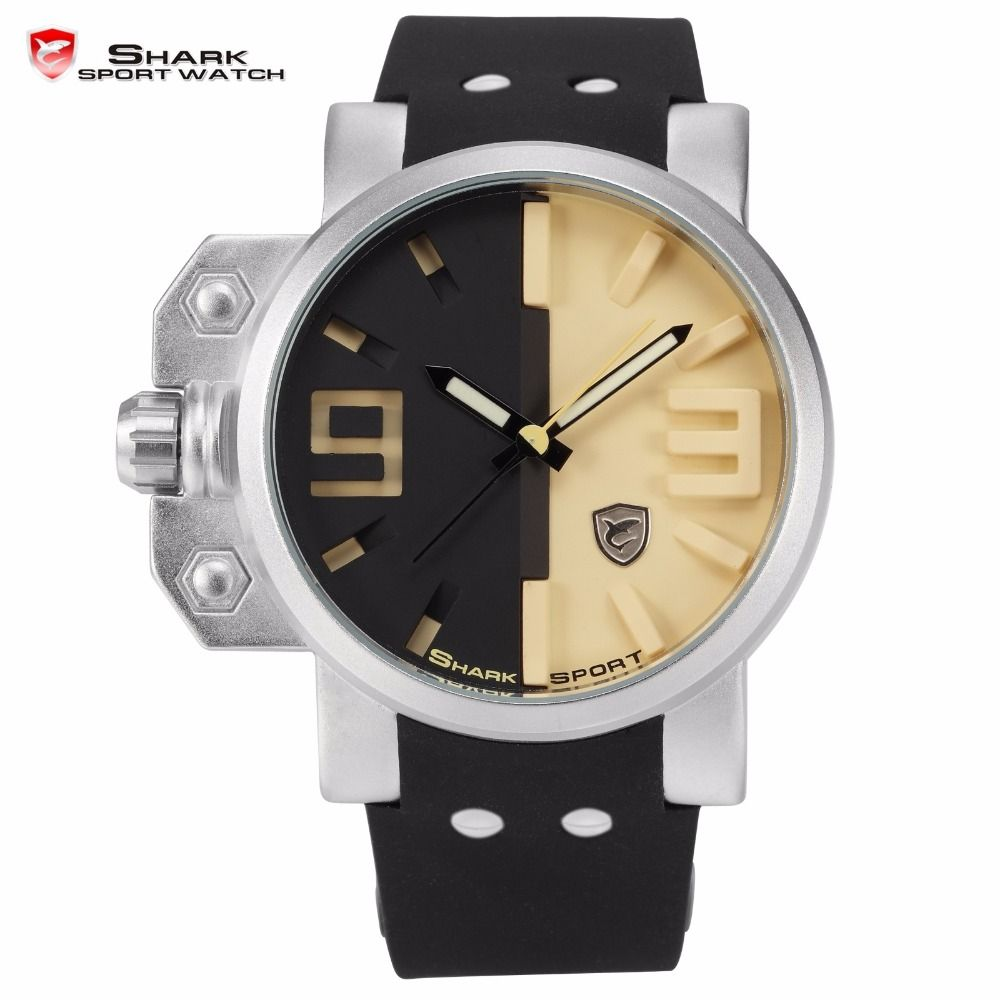 Salmon Shark Stainless Steel Black Yellow 3d Analog Sport Watch