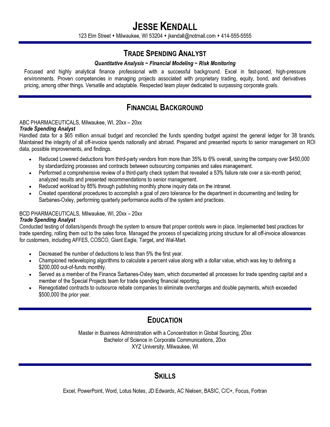 Senior Financial Analyst Resume Sales And Trading Resume Objective  Pricing Analyst Resume