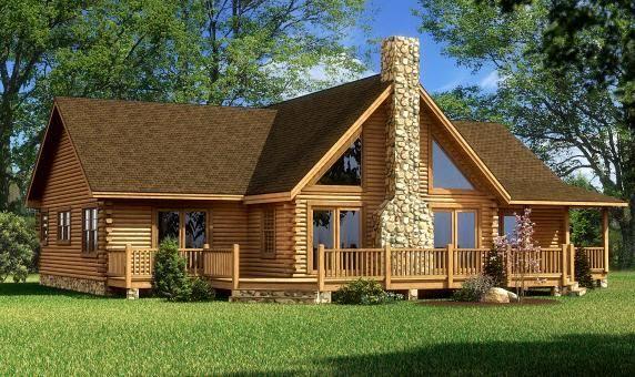Single level log home designs