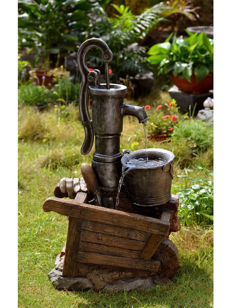 water pump and pot water fountain with led light old
