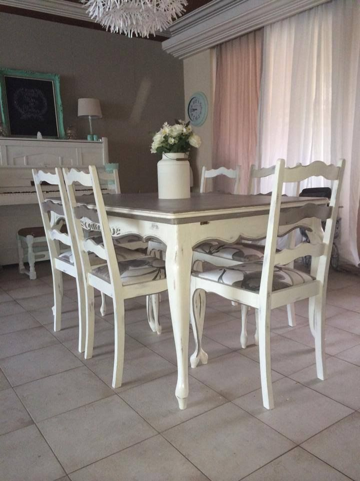 Table annie sloan chalk paint old white and french linen for White painted dining table