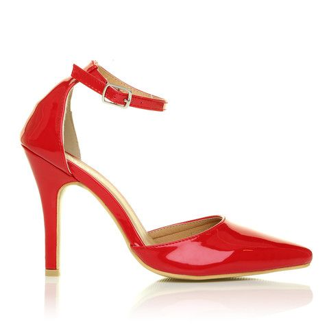 3dc734a2e7f380 NEW YORK Red Patent Ankle Strap Pointed High Heel Court Shoes – ShuWish UK