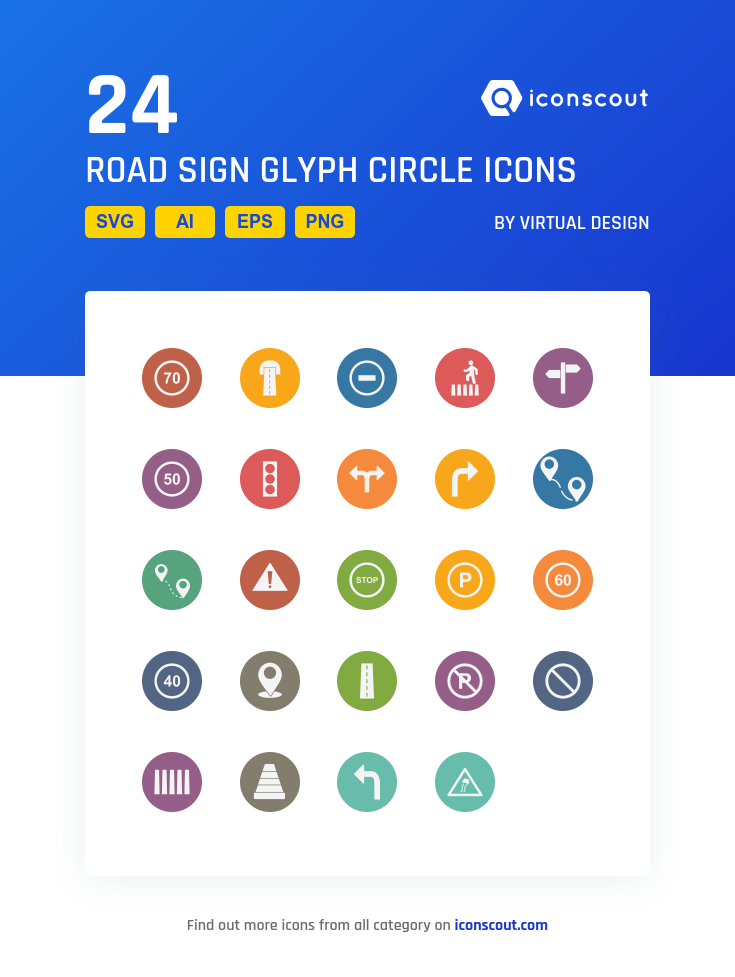Download Download Road Sign Glyph Circle Icon pack - Available in ...
