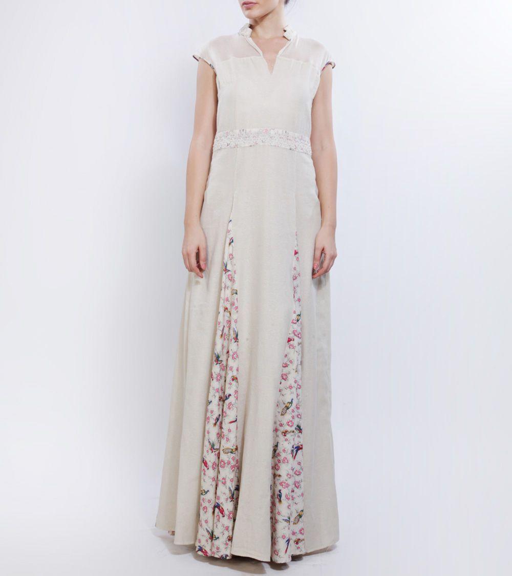 Ivory shimmer printed cotton dressudsoltee by sulakshana monga