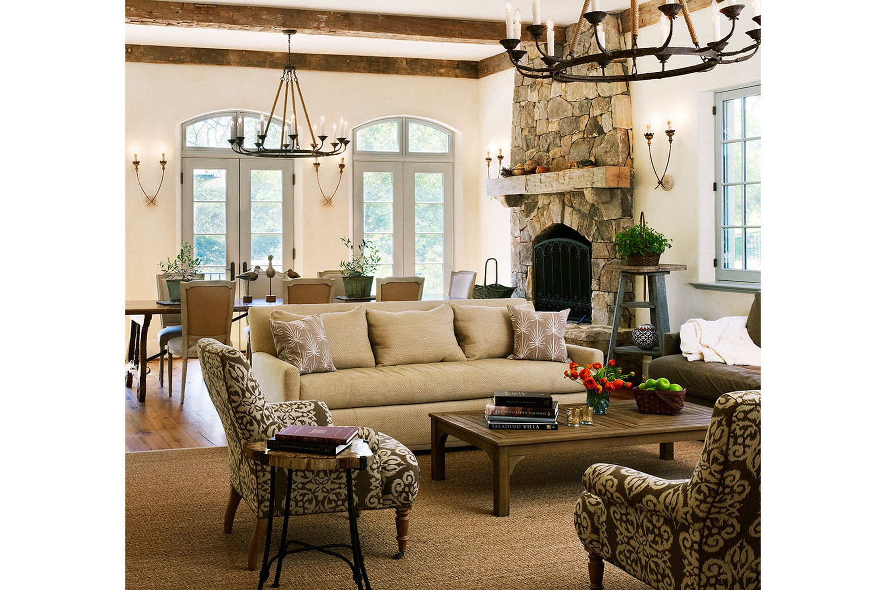Rustic French Country Family Room Familyroom Architecture Beamedceiling Frenchdoors