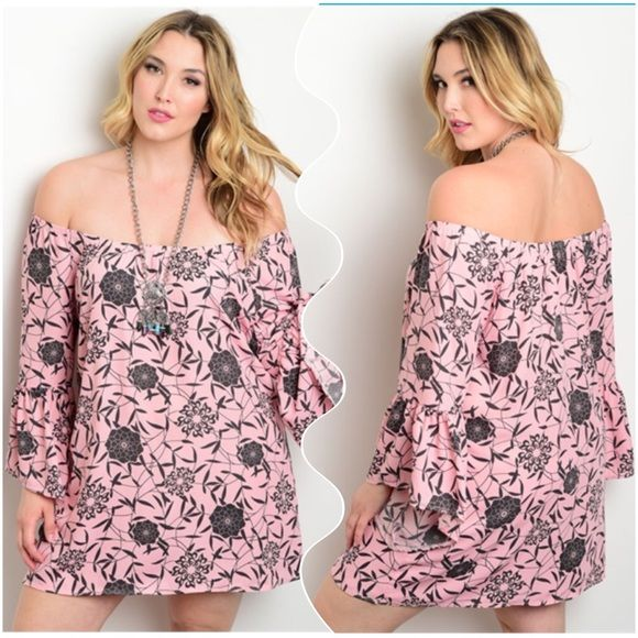 Off Shoulder Pink And Black Floral Plus Size Dress Pink With Black