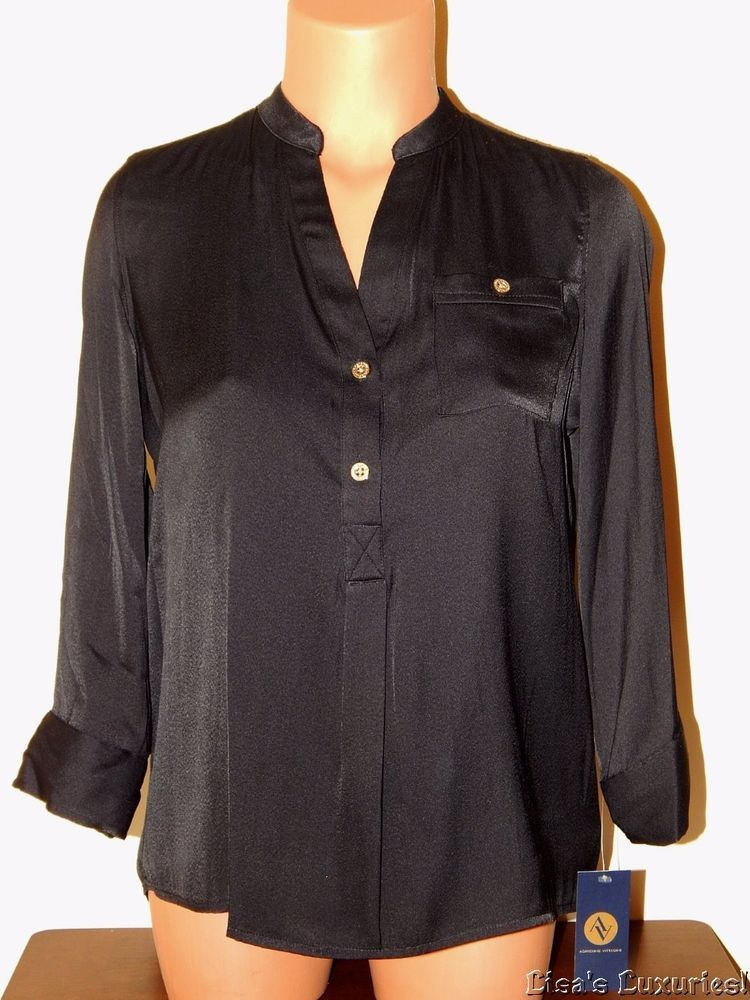 NWT Women's Top S. Adrienne Vittadini Blouse Black Longer Back $69 #AdrienneVittadini #Blouse #CareerClubwearEvening