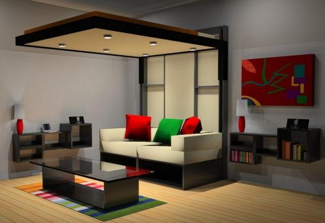 lit escamotable plafond peinture murale gris taupe canap droit et tableau abstrait multicolore