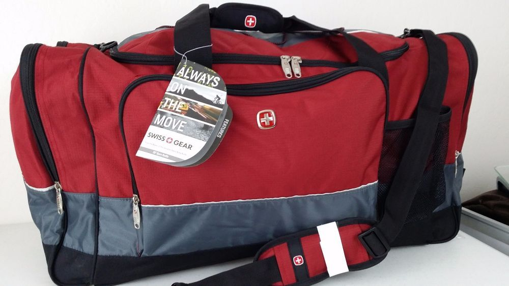 Nwt Swiss Gear Army Wenger 28 Red Gray Sport Gym Travel Bag Carry On Luggage