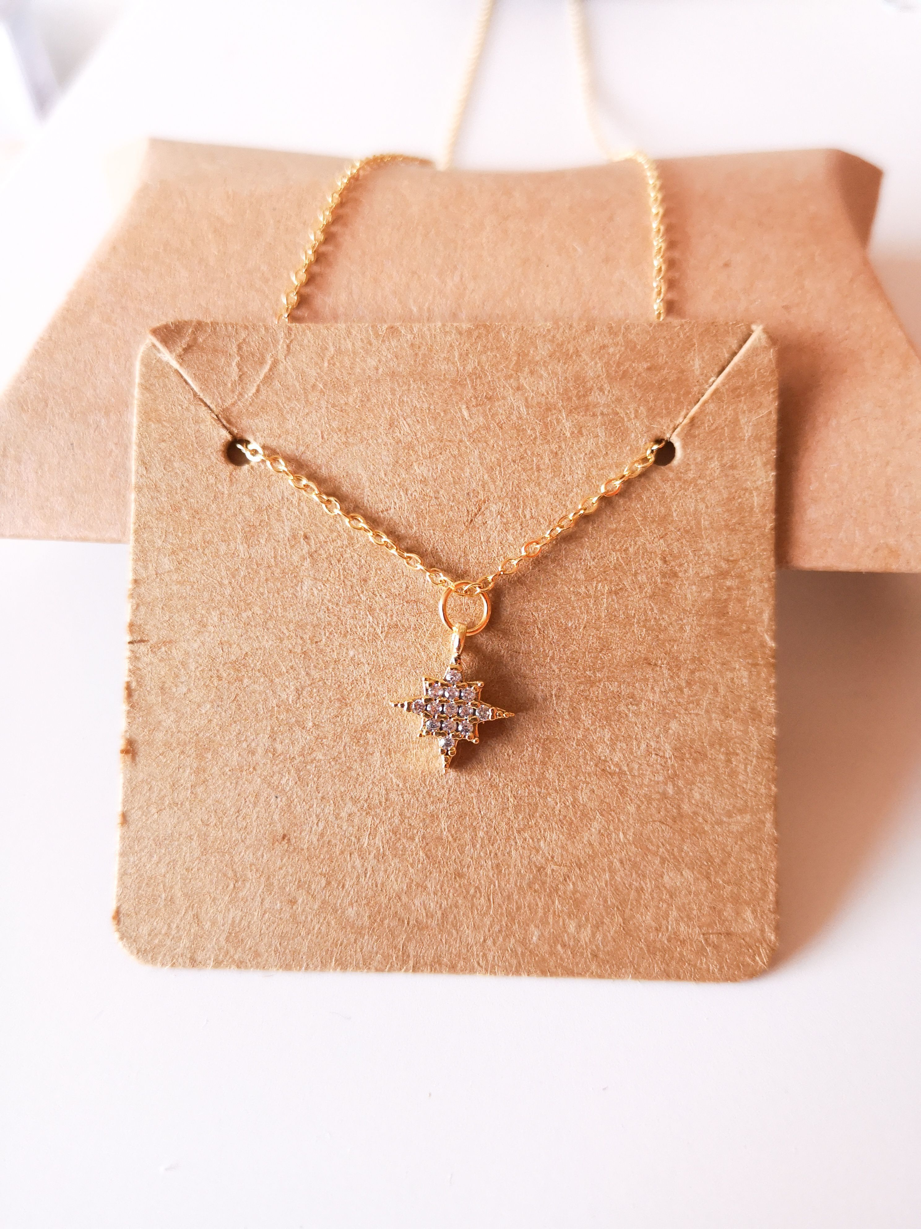 Photo of North Star Pendant, Gold North star pendant on a dainty GOLD chain, Cubic Zircon…,  #chain …