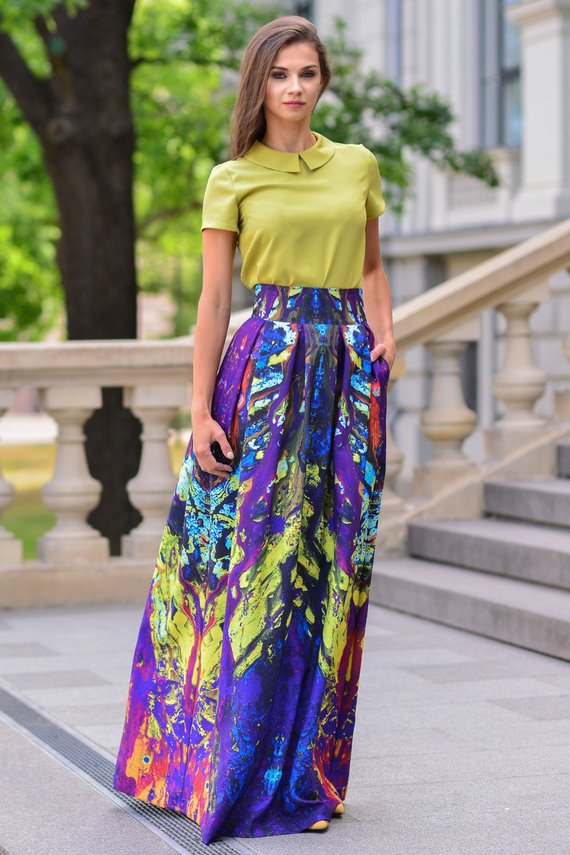 coupon code best prices great fit Maxi Skirt, Long Skirt, Women Skirt, Colorful Skirt, High Waist ...