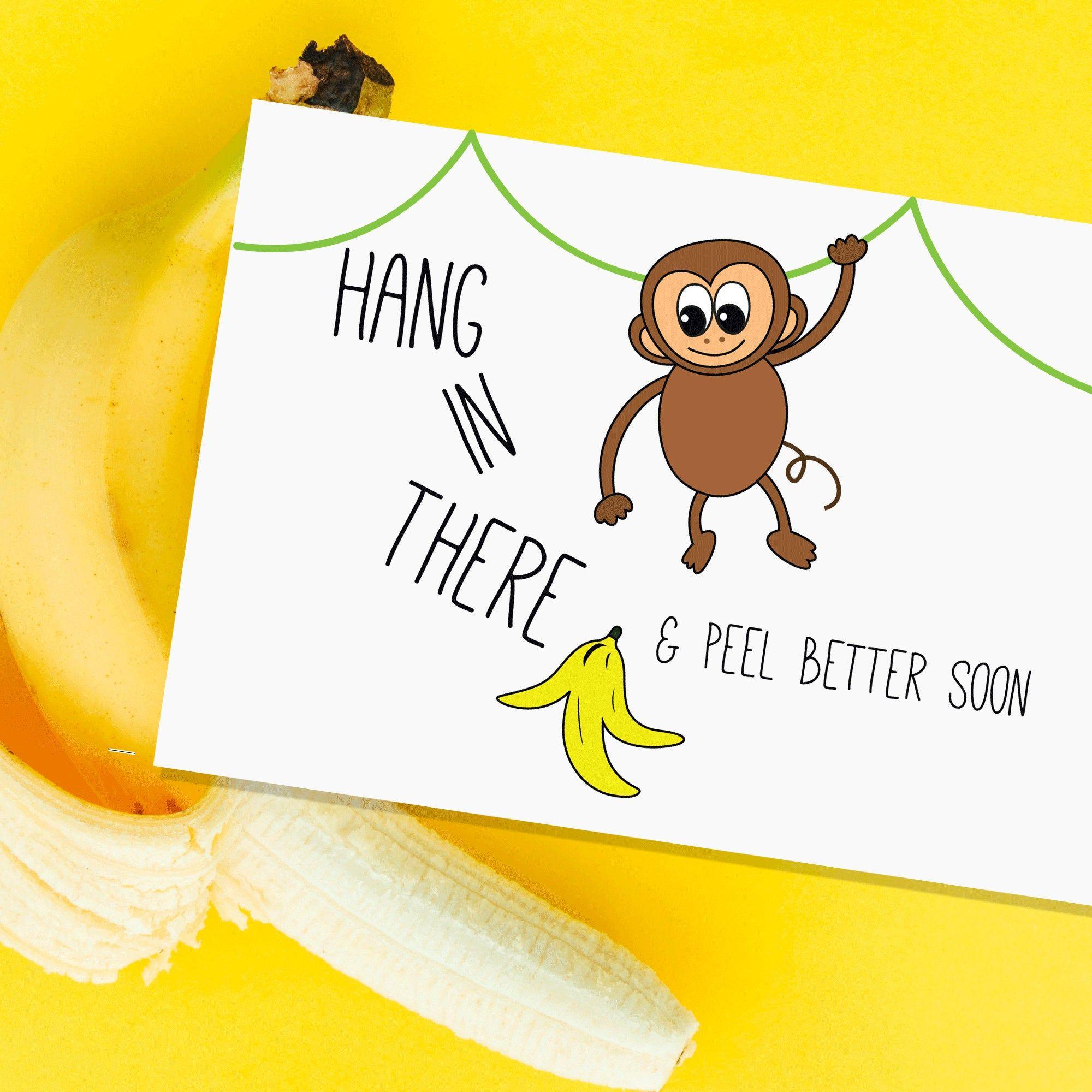 Get Well Soon Monkey Greeting Card Cute Thank You Cards Get Well Cards Get Well Soon