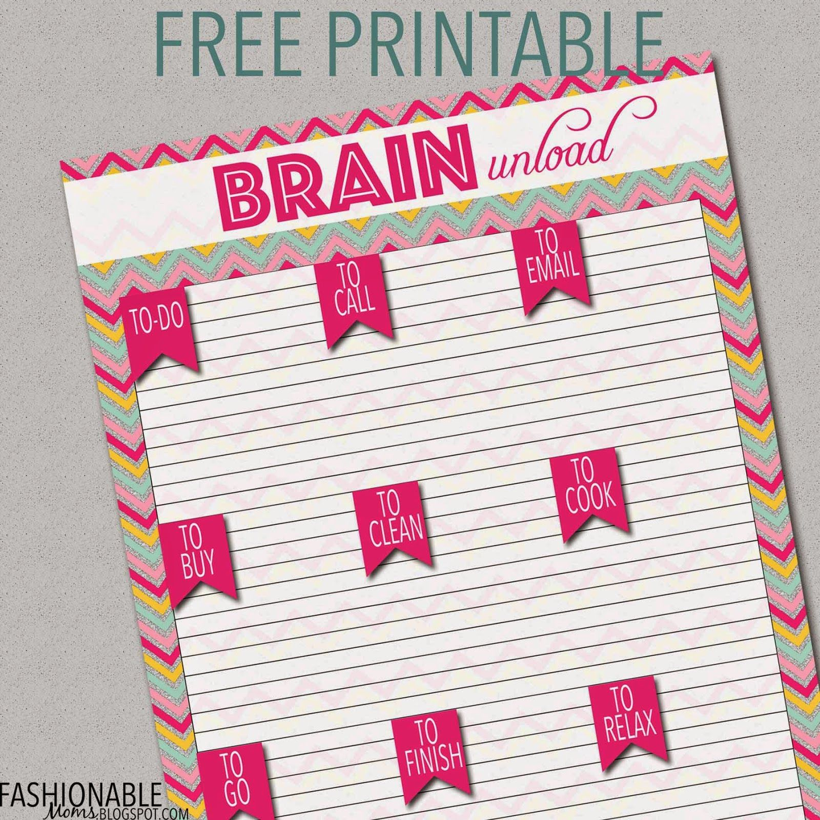 Free Printable: Brain Unload! From Fashionable Mom's Blog