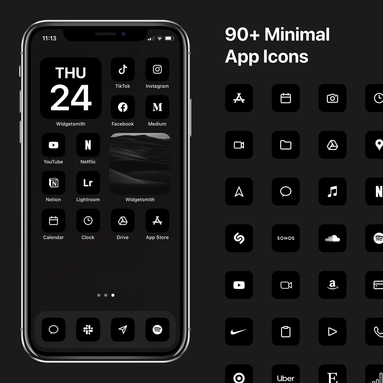 iOS 14 Minimal Icons, Black Minimalist Icon Pack, iPhone Modern Icon Bundle, 130+ Icons
