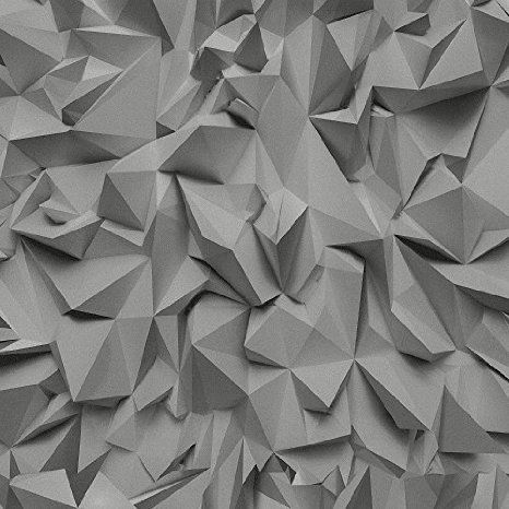 P&S Times 3D Effect Triangle Pattern Geometric Non Woven Textured Wallpaper (Grey SIlver 42097-40)