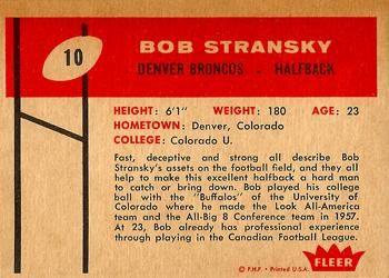 1960 Fleer #10 Bob Stransky Back