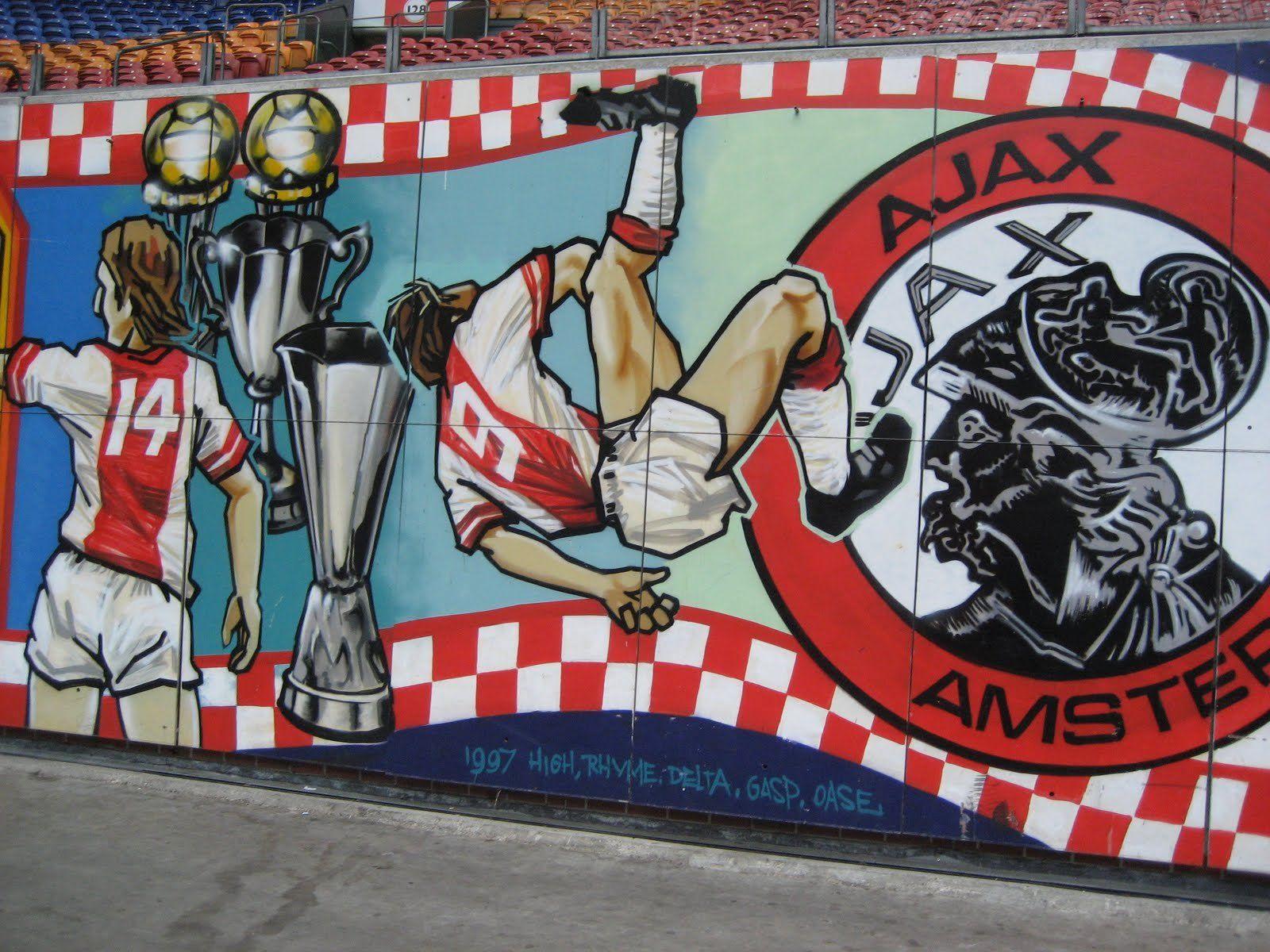 Ajax Cruyff Afc Ajax Graffiti Wall Amsterdam City Centre Fifa Football Sport