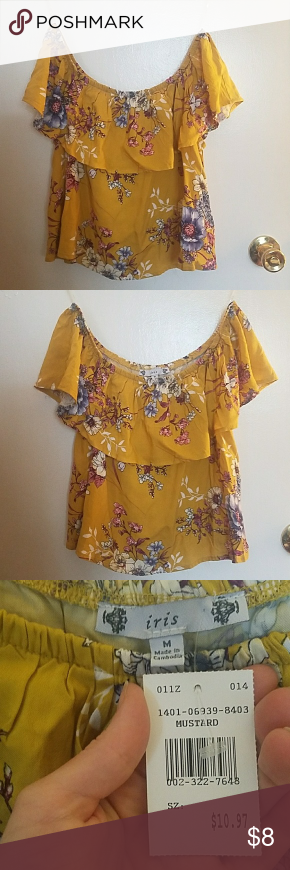 dc3e5e0d4d316c Off the shoulder mustard shirt This is a fun
