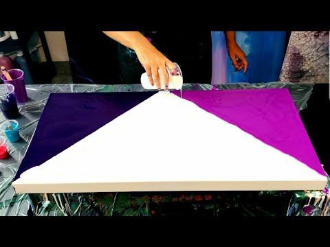 TRI-COLOR Blow out / Acrylic Pouring / Fluid Art /