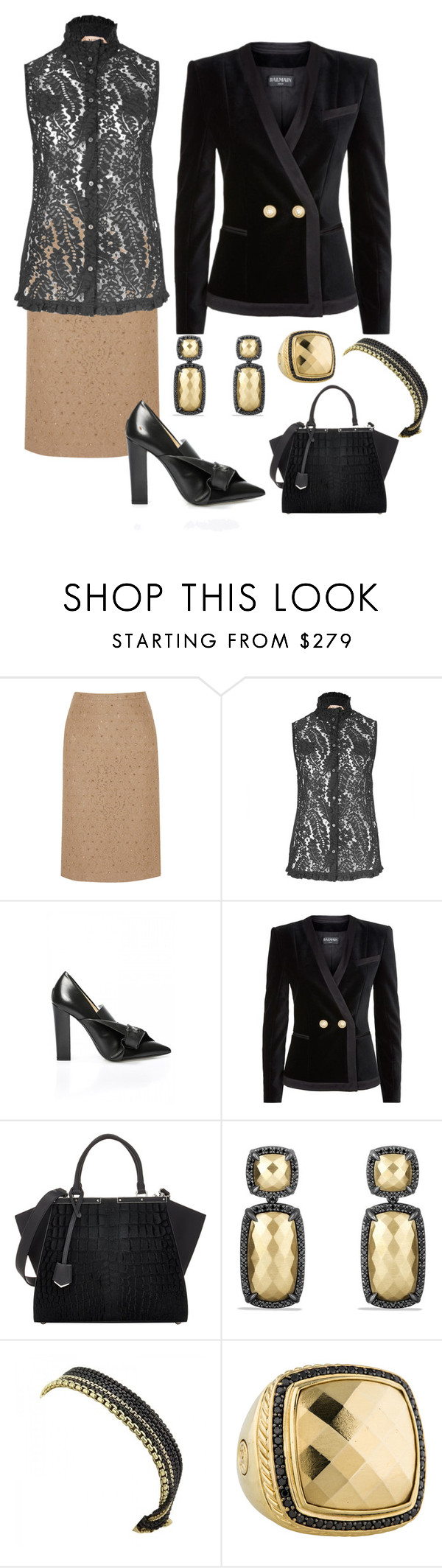 """After Work Date Night"" by karen-galves on Polyvore featuring N°21, Balmain, Fendi and David Yurman"