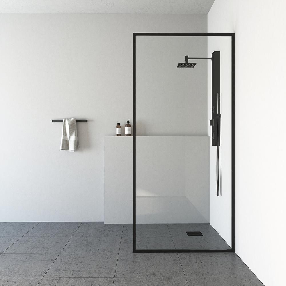 Vigo 33 In X 73 In Frameless Fixed Shower Screen In Matte Black