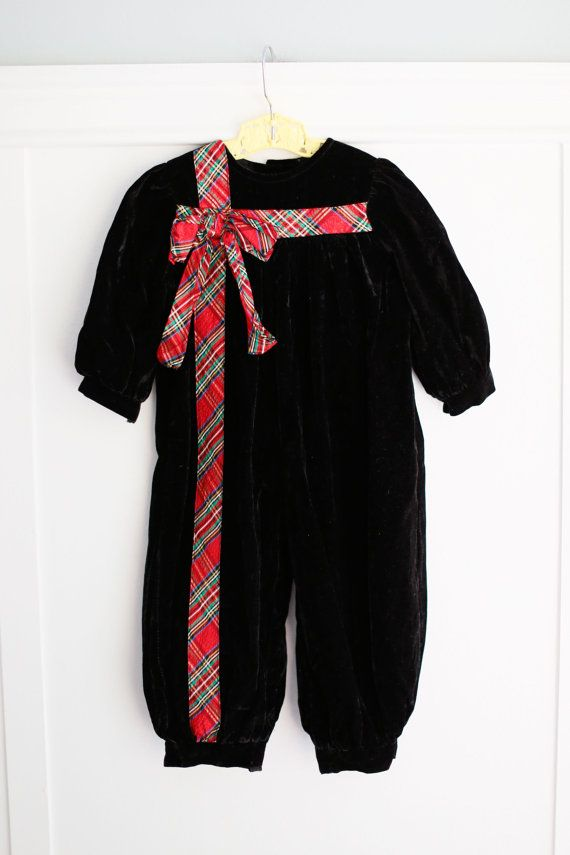 5eea7b262c4f 18 months  Velvet Baby Romper with Christmas Plaid Bow